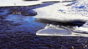 River in spring bends in ice stock footage