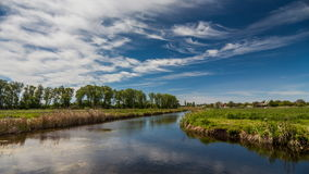 River in spring on a bright sunny day. Blue sky with white clouds stock video