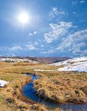 River in a spring steppe Stock Photo
