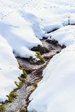 River in spring time. Small river flowing between two hills covered by white snow in winter time Stock Photography