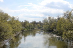 River. Spring, river, trees and fisher Royalty Free Stock Photos