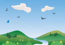 River in springtime, vector. Spring river and landscape, with wildflowers, butterfly and birds Royalty Free Stock Photos