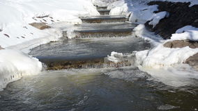 River stairs icy snowy banks cascade waterfall beauty winter day stock video footage