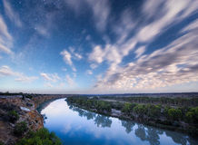 River Stars. The River Murray lit up by the moon at midnight Royalty Free Stock Photography