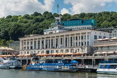 River Station on the Dnipro river in Kyiv on the Poshtova square, Ukraine. Kyiv, Ukraine - July 13, 2019: Facade of the Kyiv River Port River Station in Kyiv royalty free stock images