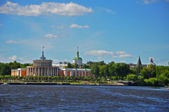 The river station and the dome of Assumption Cathedral in Tver city, Russia Stock Photography