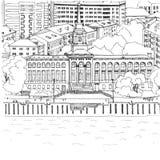 River Station in Krasnoyarsk. Black and white drawing. Black and white draw. Sightseeing of Krasnoyarsk stock illustration