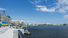 River Station and the waterfront of the Dnieper in Kiev Royalty Free Stock Image
