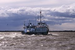 River steamer in stormy weather stock photo