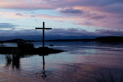 River Stillness Cross Stock Photo