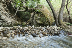 River and stone wall Stock Photography