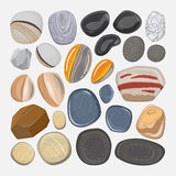 River stones isolated on white background. Vector river stones isolated on white background. Different shapes sea rock pebbles vector illustration
