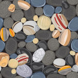 River stones seamless pattern. Rocks pebbles in beach vector background Stock Photography