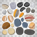 River stones on transparent background. Vector river stones on white background. Different shapes sea rock pebbles on the transparent background royalty free illustration