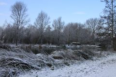 Looking towards the River Stour on a snowy morning. The River Stour runs through Sudbury and is surrounded by water meadows royalty free stock images