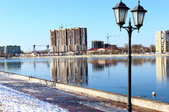 The river Strait city morning sun construction of the old bridge from Germany to Astrakhan ice snow Stock Images