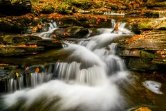 River falls. River stream in autumn stock photo