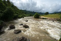 River stream in flood after several days of rain in north Vietnam.  royalty free stock image