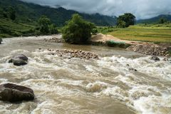 River stream in flood after several days of rain in north Vietnam.  royalty free stock photography