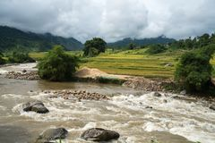 River stream in flood after several days of rain in north Vietnam.  stock images
