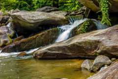 River stream flowing over rock formations in the mountains Royalty Free Stock Photography