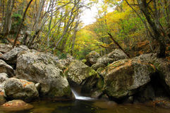 River stream in high mountain in autumn Royalty Free Stock Photo