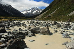 River stream in Hooker Valley Stock Image