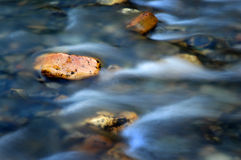 River Stream Rock. Water in stream or creek that is flowing past a rock fast Royalty Free Stock Images
