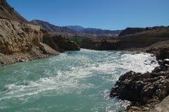 River stream on the way from Lamayuru to Basgo Monastery in Lada Stock Photo