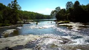 River streams among wild landscape of green forest. Aerial view tranquil river with clear sky reflection streams among wild landscape of green forest stock footage