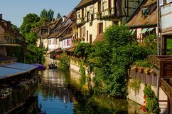 River-street of Colmar, Alsace, France. Royalty Free Stock Photography