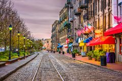 Free River Street, Savannah, Georgia, USA Stock Photography - 112676852