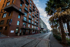 River Street in Savannah, Georgia on a Warm Day Stock Image