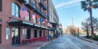 River Street Stroll. Cobblestone walkway along River Street in Savannah Georgia stock photography