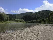 River Strij in Karpatian mountains. Stone riverbank, green forest Stock Photography