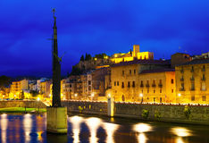 At river  and Suda Castle in evening. Tortosa, Spain Stock Photo