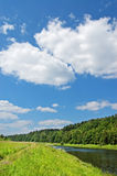 River in summer. The quiet Moskva river with green wood on coast royalty free stock photos