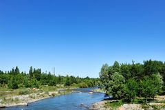 River. In summer, the beautiful grasslands and  river, we can see some bushes, trees and flowers and plants and various kinds of grass Stock Image