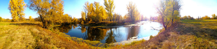 River summer panorama. Landscape panorama of the autumn river in sunny weather Stock Images