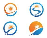 River and sun Logo symbols Template icons.  Stock Photography