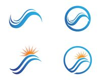 River and sun symbols Logo  Template icons.  Royalty Free Stock Images