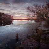 River before sunrise. The river before sunrise October day in the morning day Royalty Free Stock Image