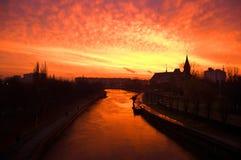 River. Sunrise over the river Pregel. Kaliningrad Royalty Free Stock Photo
