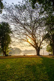 River sunrise. The sun rises over the River Kwai in Thailand Stock Images