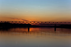 River in the sunset. Beautiful sunset on the danube river Royalty Free Stock Images