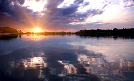 River Sunset. Beautiful sunset over a river Stock Image