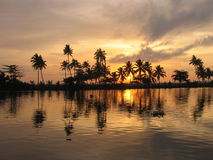 River sunset. View of a canal during the sunset in Kerala Stock Photography