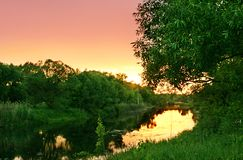 River in the sunset Stock Photography