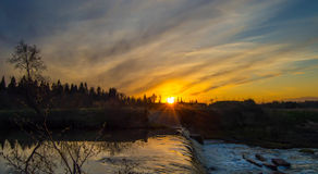 River on sunset background Royalty Free Stock Photography