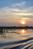 River sunset in Cambodia during summer.  Stock Image